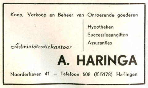 Advertentie Noorderhaven 41, Harlingen