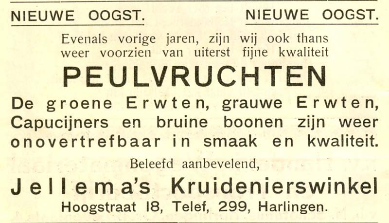 Advertentie Hoogstraat 18, Harlingen