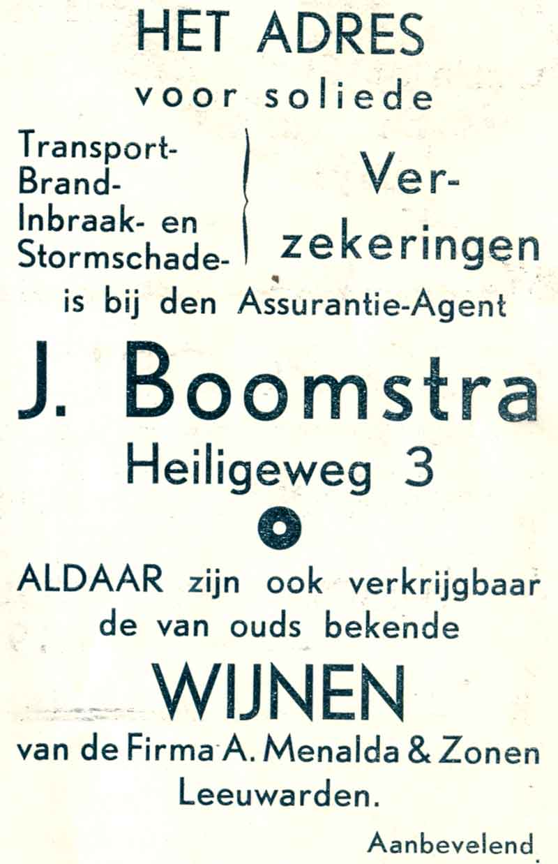 Advertentie Heiligeweg 3, Harlingen