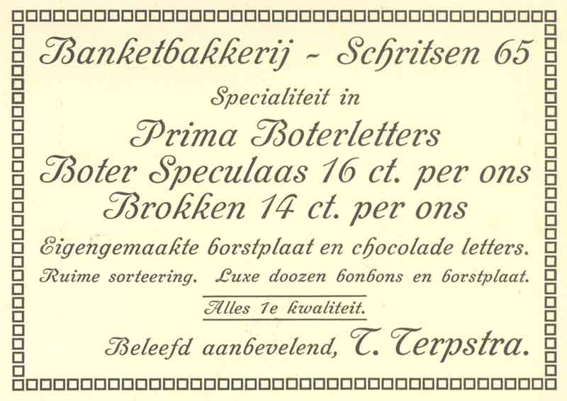 Advertentie Schritsen 65, Harlingen