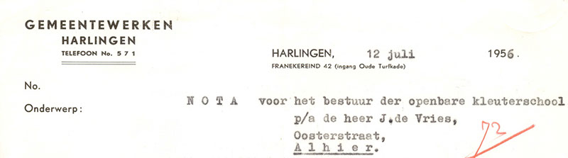 Briefhoofd Franekereind 42, Harlingen